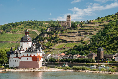 Pfalzgrafenstein and Gutenfels Castles on the Rhine River  Germany