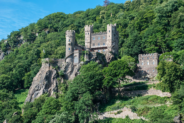 Rheinstein Castle overlooking the Rhine River  Germany