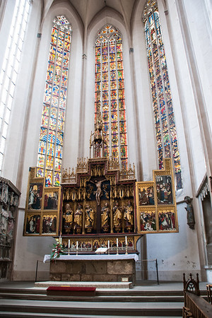 Rothenburg St. Jacobs Kirche Altar of the Twelve Apostles.  Rothenburg, Germany