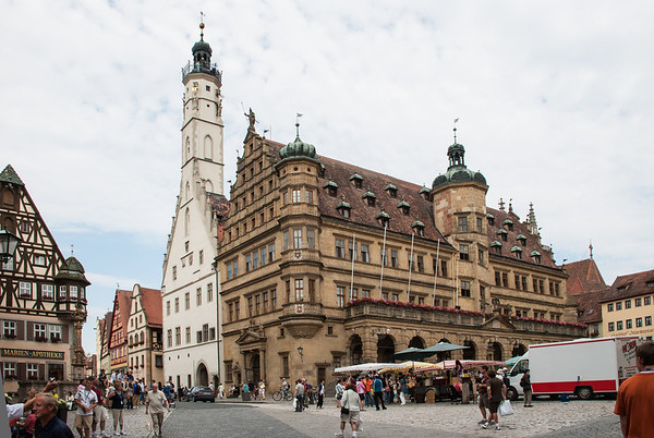 Rothenburg Town Hall in Market Square  Rothenburg, Germany
