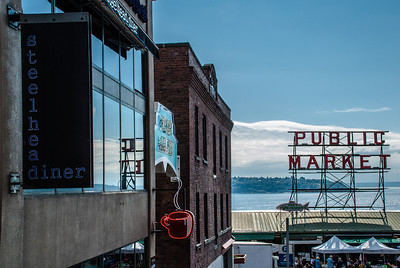 View of the Seattle Waterfront  Steelhead Diner, Seattle's Best Coffee, Pike Place Market, Puget Sound