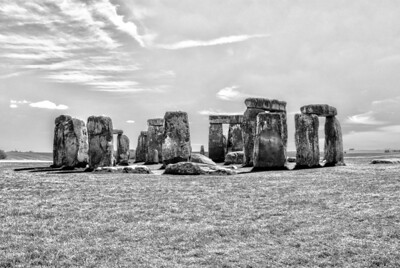 Stonehenge    The first phase of this ancient monument was constructed between 3,000 and 2,920 BC.  This was determined through carbon dating of deer-antler picks used to dig the ditch in which the stones were set, along with animal bones found at the bottom of the ditch.