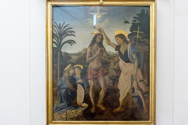 Uffizzi Gallery Verrocchio and Leonardo da Vinci's Baptism of Christ  Florence, Italy
