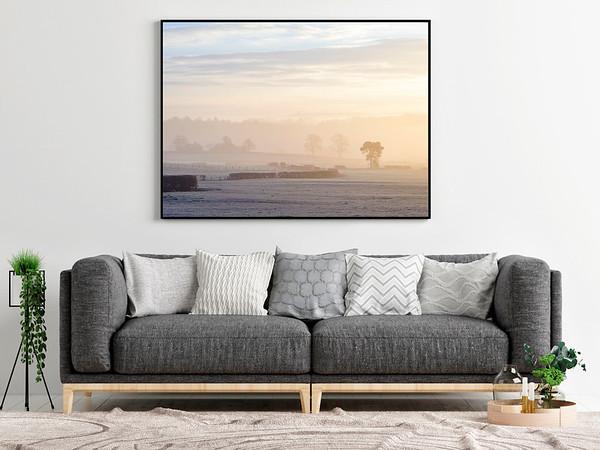 Gray sofa with mock up poster, Concept interior design, 3d render, 3d illustration