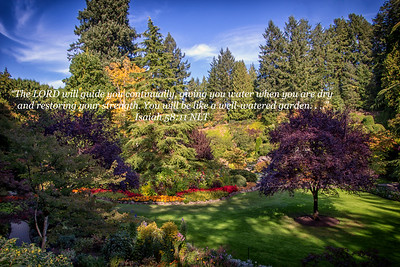Sunken gardens in Victoria BC with quote from Isaiah about a well watered garden