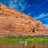Rock Formation and Boat Fishing at Colorado River Page Arizona