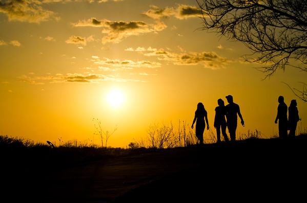 People Silhouette in a Texan Sunset