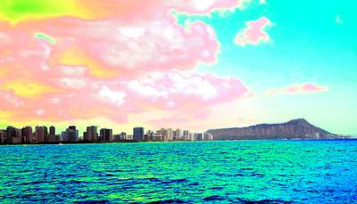 Oahu beach front -Glare