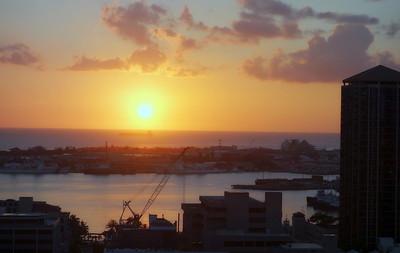 Downtwon China Town, Honolulu Bay Sunset