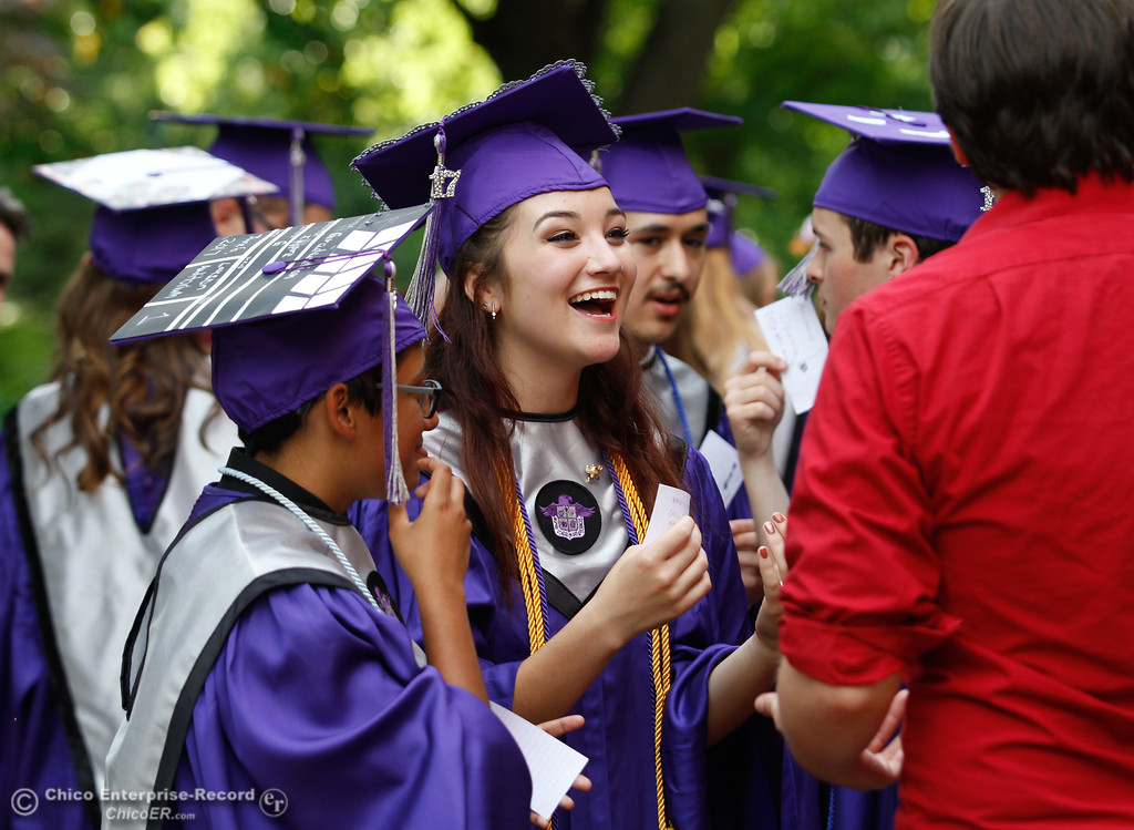 . ABS Vice President Nikki-marie Ahlstrom talks with classmates before the  Inspire School of Arts & Sciences commencement ceremony for the class of 2017 Tuesday June 6, 2017 in Chico, California. (Emily Bertolino -- Enterprise-Record)