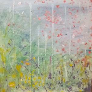 Spring emerging. Acrylic on canvas board.