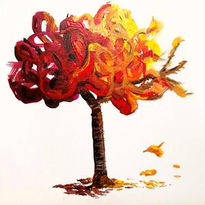 Sunlight on an autumn tree. Acrylic on canvas board.