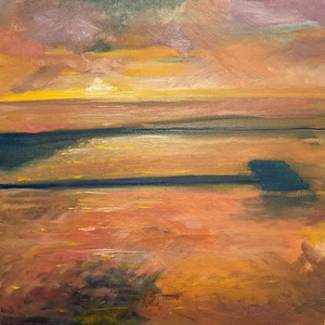 Sunset at West Kirby marine lake. Oil on canvas board.