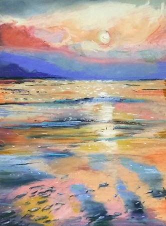 West Kirby sunset. Pastel on sanded paper.