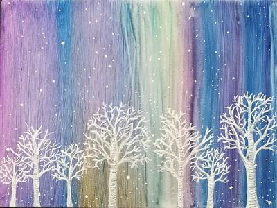 Winter trees on a snowy night. Acrylic on wood panel.