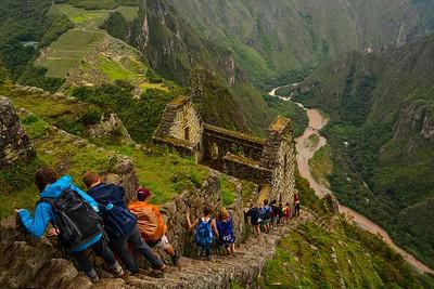 Hiking down from HuaynaPicchu Mountain