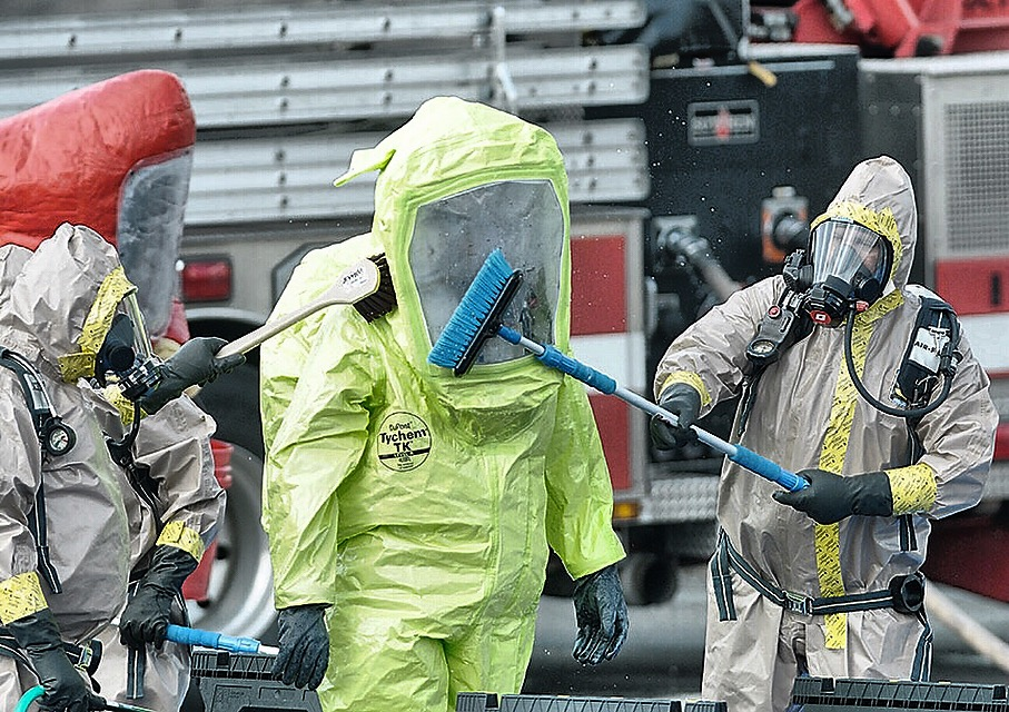 Jack Haley/Messenger Post MediaHaz Mat specialist from several different counties were used in a chemical spill at Smart System Technology in Canandaigua on Wednesday.