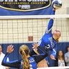 Jack Haley/Messenger Post Media<br /> Lydia Barnard is uncotested at the net as she slams down a kill in game two.