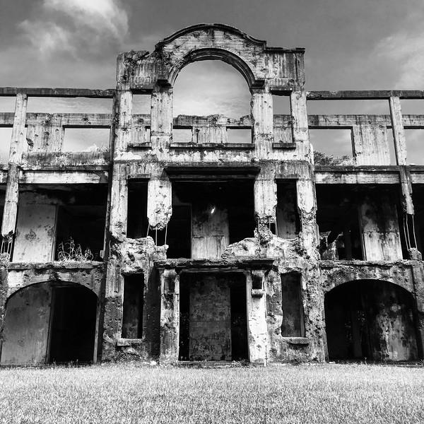 ruined building on Corregidor Island in Manila Bay