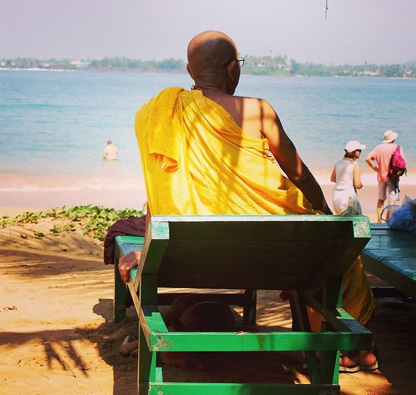 monk on beach