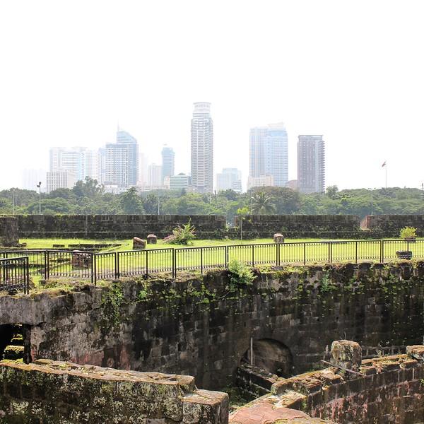 view of Manila skyline from Intramuros
