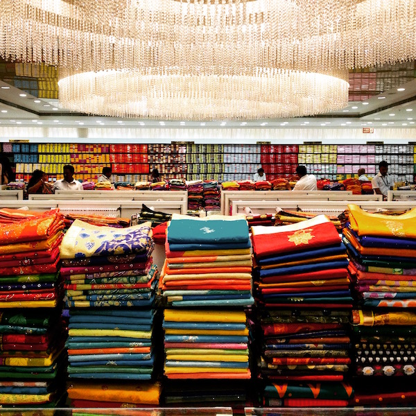 Stacked fabric from India trip