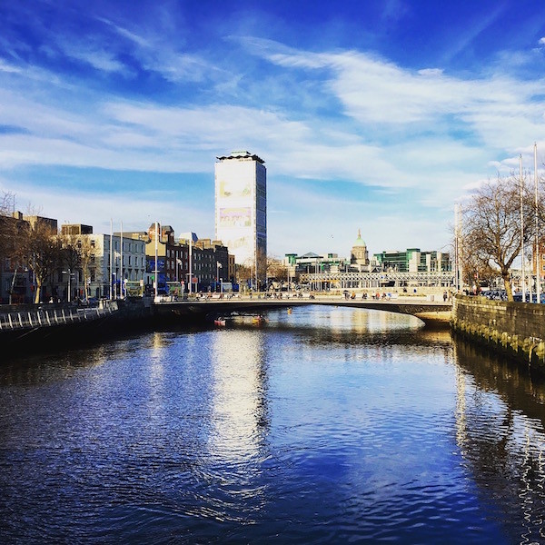 a view of the Liberty Tower and Custom House in Dublin