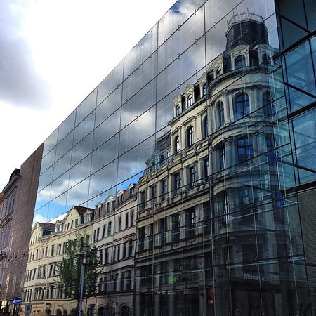 Munzblock, late afternoon reflection. Leipzig architectural melange. #stsleipzig via Instagram http://ift.tt/1r0tVTk