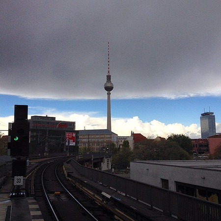 Train platform, Berlin en route to Leipzig. Mother Nature struggles with seasons, dishes a little mid-afternoon weather drama. via Instagram http://ift.tt/1p32sol