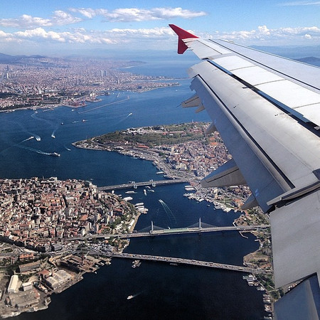 Up in the air, Istanbul (not Constantinople). Touching down en route to Addis Ababa. What fair weather does for this remarkable city. via Instagram http://ift.tt/1gRfRue