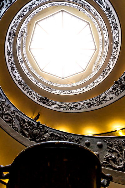 The double spiral staircase from below