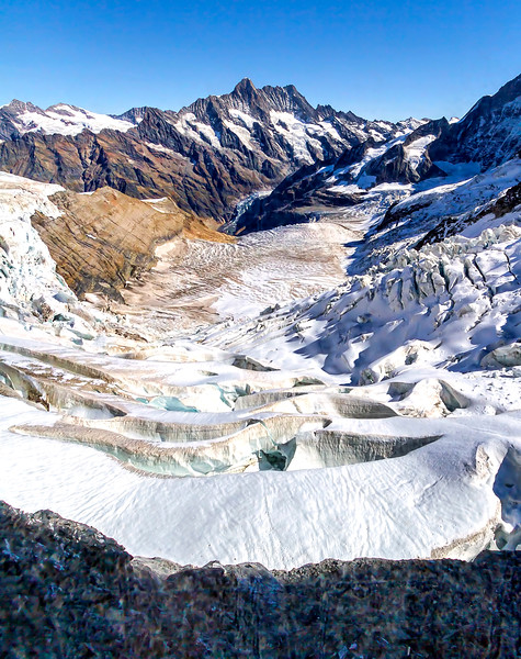 first glacial views ascending Jungfrau