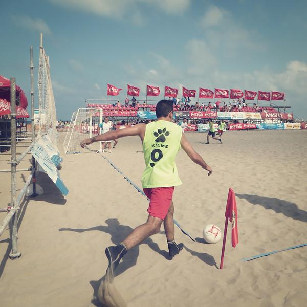 Sand Soccer at Valencia, Spain Beach on August 7, 2012.
