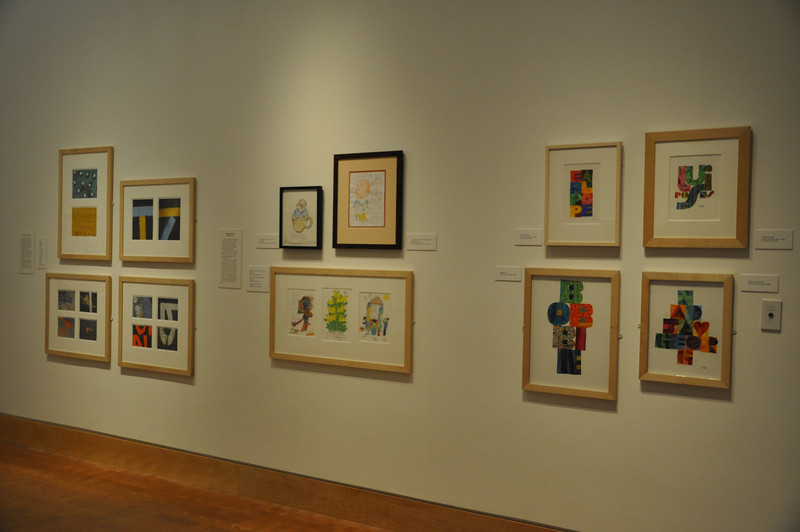 Left to right: Street Photography, Thank you notes,  Name Collages . [Photo by Kristin Angel for The Eric Carle Museum of Picture Book Art - Reproduction only with permission]