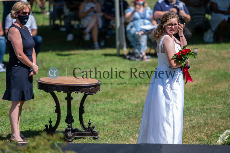 Abigayle Wood is the last graduate in the 156-year history of the Institute of Notre Dame. The all-girls high school celebrated its last graduation ceremony July 26, 2020 at Notre Dame of Maryland University in Baltimore. (Kevin J. Parks/CR Staff)