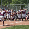 Chico State Wildcats #22 Claire Wayne (center) comes home after hitting a 2-run home run against Sonoma State Seawolves in the bottom of the second inning during their first softball game of a doubleheader on Friday, April 13, 2018 in Chico, Calif. <br /> (Jason Halley/University Photographer/CSU Chico)