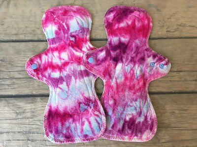 TWO UltiMini xs Pads - bamboo velour - swirl dyed by Tripletts Tie Dye