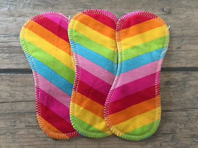 """THREE 7inch TinyLiners - cotton/lycra topped - """"rainbow"""""""
