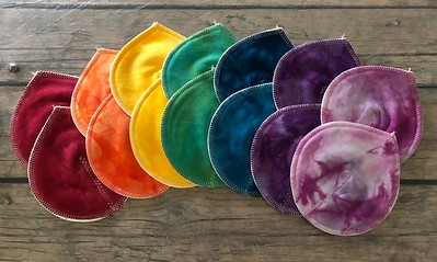 "SEVEN Pairs of Super Soaker Nursing Pads - bamboo fleece, smooth - ""rainbow"""