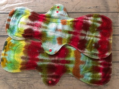 TWO MegaMax Pads - bamboo fleece - dyed by Tripletts Tie Dye