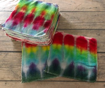 SIXTEEN 8x8 Luxury Cloths - bamboo microsherpa & bamboo terry - dyed by Tripletts Tie Dye