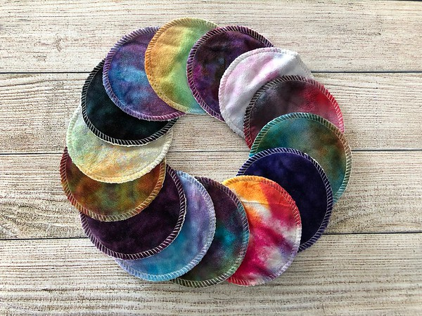 """Set of THREE hand dyed 4"""" reusable cosmetic pads - Surprise Colours"""