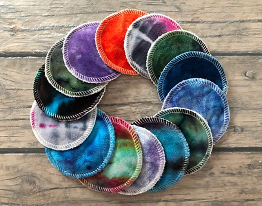 Set of THREE hand dyed reusable cosmetic pads - Surprise Colours