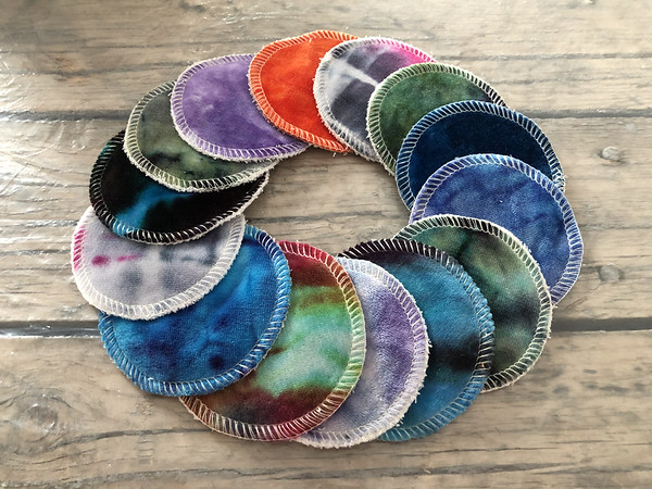 "Set of THREE hand dyed 3"" reusable cosmetic pads - Surprise Colours"
