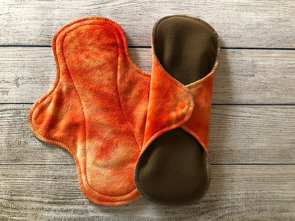 """TWO 11"""" Wrap Wing Reusable Cloth Pads for Heavy Flow"""