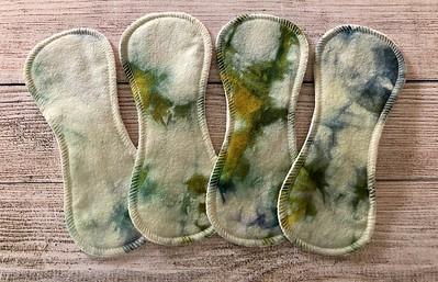 """FOUR 8"""" Contoured Reusable Cloth Pads for Light Flow - silk"""