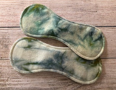 """TWO 9.5"""" Contoured Reusable Cloth Pads for LIGHT Flow - silk"""