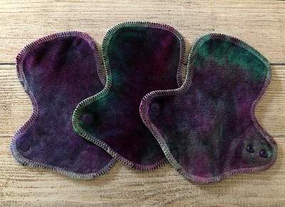 """THREE 7"""" Ultimate Pantywrap Reusable Cloth Pads for Light Flow"""