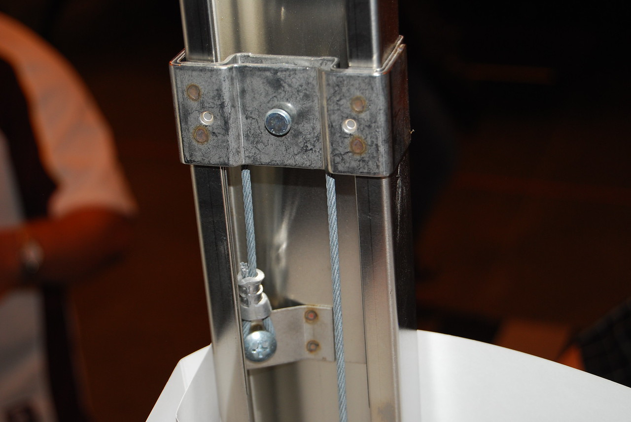 This is the upper pulley - seen from inside the PUP with the tent material removed.