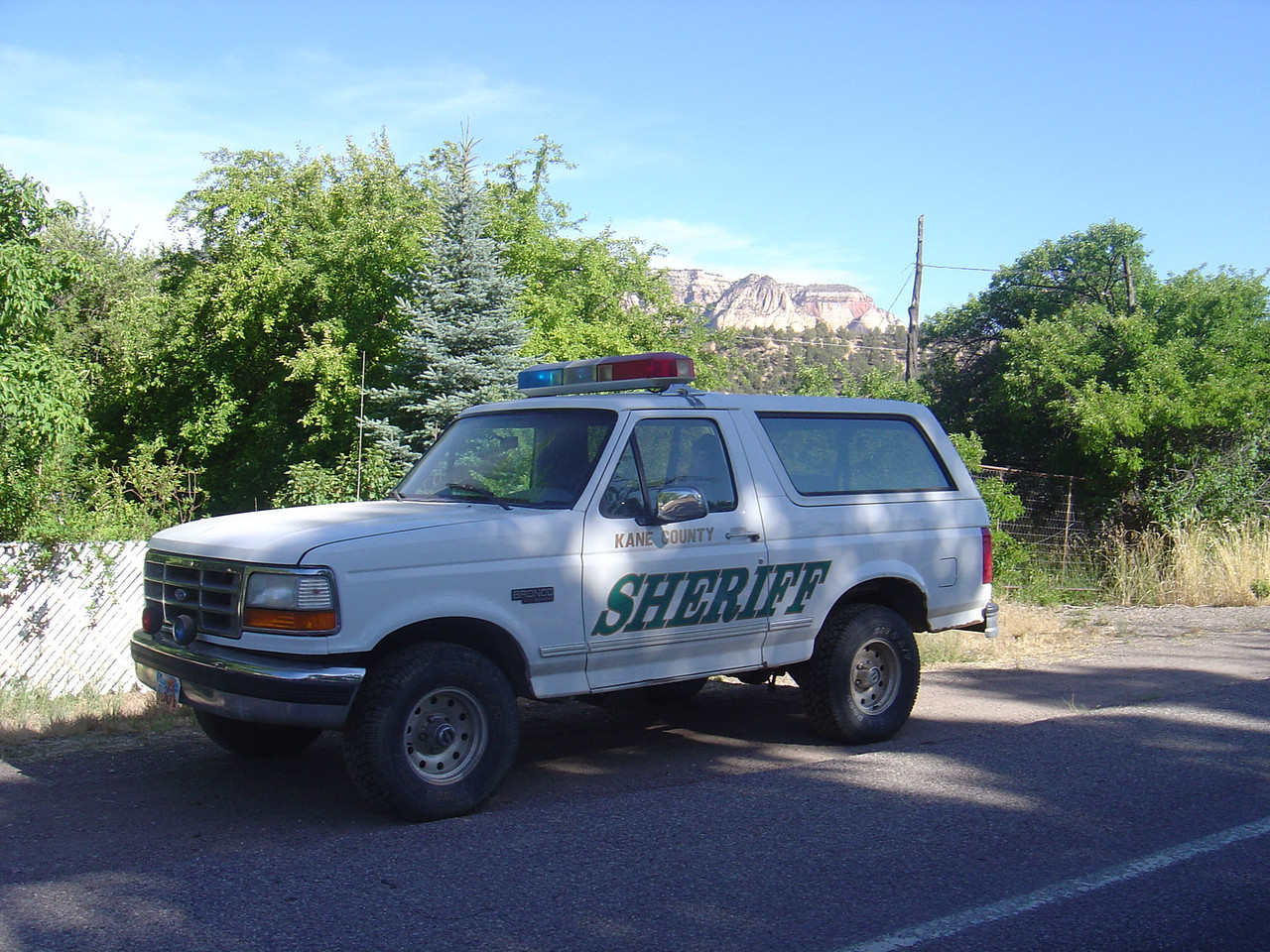 This is the patrol vehicle that was posted at the north end of Mt. Carmel, Ut.
